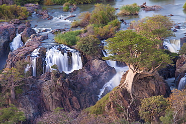 Epupa Falls on the Kunene River (which forms the border between Namibia and Angola), Kunene Region (formerly Kaokoland), Namibia, Africa
