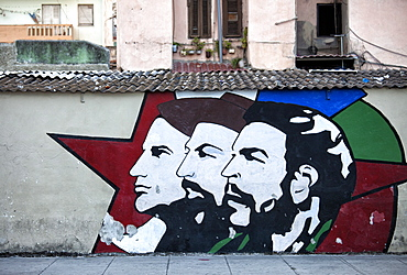 Revolutionary mural painted on wall, Havana Centro, Havana, Cuba, West Indies, Central America