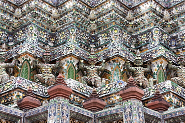 Detail of the Central Prang showing demon figures and ceramic decoration created using broken ceramics used as ballast in the 19th century on Chinese trading ships, Wat Arun, Bangkok, Thailand, Southeast Asia, Asia