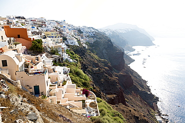Early morning view of Oia, Imerovigli and Fira, from Oia, Santorini, Cyclades, Greek Islands, Greece, Europe