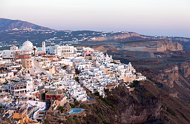 View of Fira with its domed churches and whitewashed houses, Santorini, Cyclades, Greek Islands, Greece, Europe