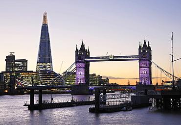 Tower Bridge and The Shard illuminated at night, London, England, United Kingdom, Europe