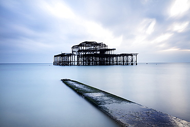 Long exposure image of Brighton's derelict West Pier, Brighton, East Sussex, England, United Kingdom, Europe