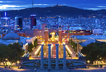 View at twilight from the steps to the Palau Nacional on Montjuic Hill over Barcelona, Catalonia, Spain, Europe