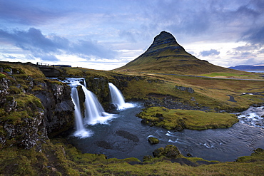 Mountain river with Kirkjufell (Church Mountain) in background, Grundafjordur, Snaefellsnes Peninsula, Iceland, Polar Regions