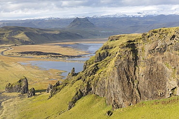 Dramatic view of mountains, extinct volcanos and glaciers, from Dyrholaey, near Vik Y Myrdal, South Iceland, Polar Regions