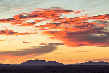 Dramatic sunset over mountains near Merzouga, Morocco, North Africa, Africa