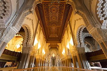 Interior of the Hassan II Mosque (Grande Mosque Hassan II), Casablanca, Morocco