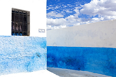 Typical blue and white street scene in Kasbah des Oudaya (Kasbah of the Udayas), Rabat, Morocco, North Africa, Africa