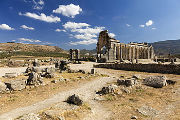 The Basilica at the Roman city of Volubilis, UNESCO World Heritage Site, near Moulay Idris, Meknes, Morocco, North Africa, Africa