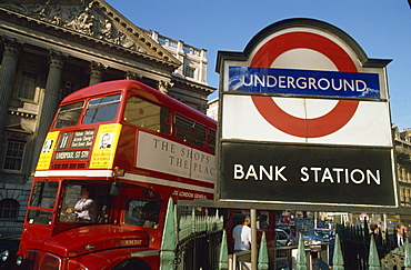 Double decker bus and Bank station London Underground sign, City of London, London, England, United Kingdom, Europe