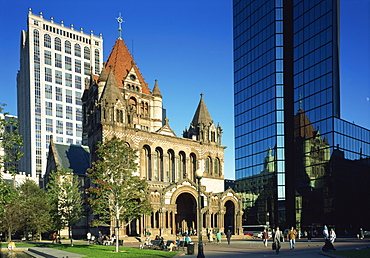 Trinity Church and the Hancock Tower in the city of Boston, Massachusetts, New England, United States of America, North America