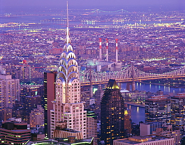 Aerial view over Manhattan, including the Chrysler Building, New York City, New York, United States of America, North America