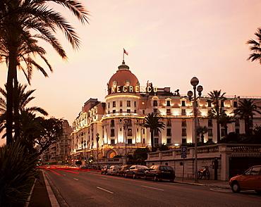 Negresco Hotel and Promenade des Anglais, Nice, Alpes Maritimes, Cote d'Azur, French Riviera, Provence, France, Europe