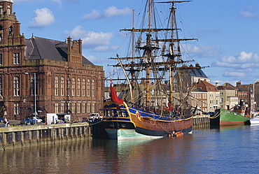 Captain Cook's ship moored on the quay in the harbour at Great Yarmouth, Norfolk, England, United Kingdom, Europe