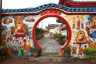 Buddhist teaching wall, Kek Lok Si Temple, Penang, Malaysia, Southeast Asia, Asia