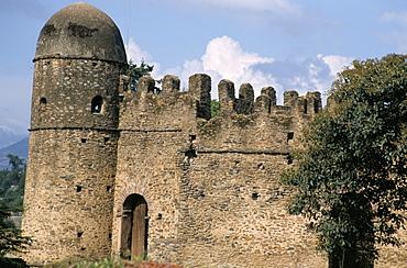 Compound walls, Royal Enclosure, 17th century castle, Gondar, Ethiopia, Africa