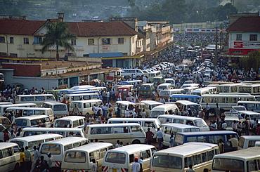 Matatu (minibus) park, Kampala, Uganda, East Africa, Africa