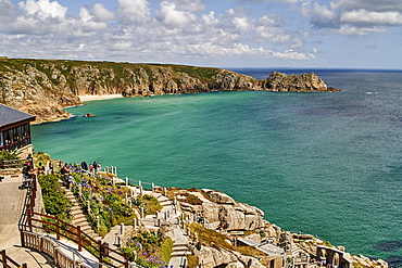 View over the Minack Theatre to Porthcurno beach near Penzance, West Cornwall, England, United Kingdom, Europe