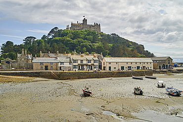View of St Michael's Mount from the tidal island's landward harbour wall, Marazion, Cornwall, England, United Kingdom, Europe