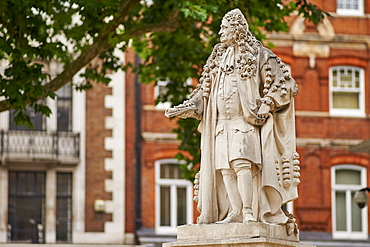 Statue of Sir Hans Sloane, 1660-1753, by Simon Smith, 2007, at Duke of York's Square, Chelsea, London, England, United Kingdom, Europe