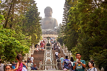 Visitors make the climb to see Big Buddha, Po Lin Monastery, Ngong Ping, Lantau Island, Hong Kong, China, Asia