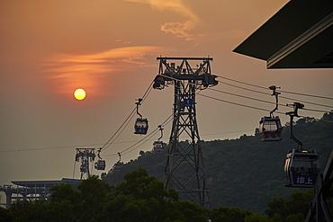 Ngong Ping 360 gondola brings visitors back from Big Buddha and Po Lin Monastery, Lantau Island, Hong Kong, China, Asia