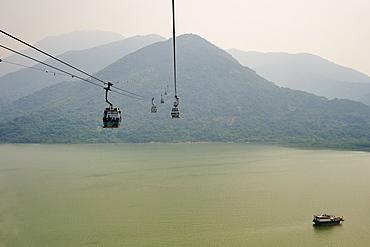 Ngong Ping 360 gondola takes visitors to Big Buddha and Po Lin Monastery, Lantau Island, Hong Kong, China, Asia