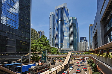 View of business district from Hennessy Road, Wan Chai, Hong Kong, China, Asia
