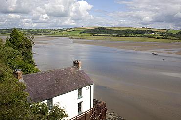 Taf estuary with Dylan Thomas boathouse, Laugharne, Carmarthenshire, South Wales, United Kingdom, Europe - 365-3824