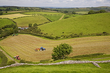 Tractors harvesting in field by Carreg Cennon, Brecon Beacons National Park, Wales, United Kingdom, Europe - 365-3827