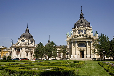 Szechenhyi Baths with its main dome and northern dome, Budapest, Hungary, Europe - 365-3847