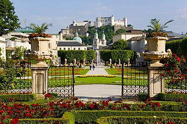 Mirabell Gardens and Schloss Hohensalzburg, Salzburg, Austria, Europe