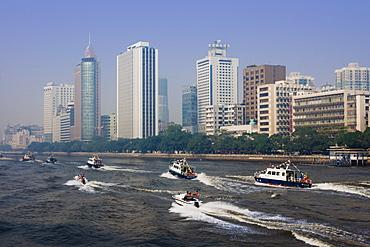 Police boat display, Guangzhou (Canton), Guangdong, China, Asia