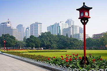Gardens and cityscape, Guangzhou (Canton), Guangdong, China, Asia