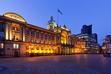 Council House and Victoria Square at dusk, Birmingham, Midlands, England, United Kingdom, Europe