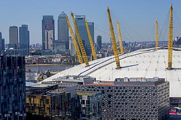 O2 Arena, with Canary Wharf behind, London, England, United Kingdom, Europe