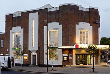 The famous Art Deco Broadway Cinema in Letchworth Garden City, illuminated at dusk, Letchworth, Hertfordshire, England, United Kingdom, Europe