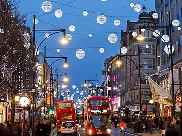 Oxford Street at Christmas, London, England, United Kingdom, Europe