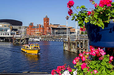 Pierhead building on waterfront of Cardiff Bay harbour, Glamorgan, Wales, United Kingdom, Europe