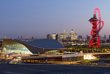 The Orbit, Olympic Park, and Canary Wharf at dusk, London, England, United Kingdom, Europe