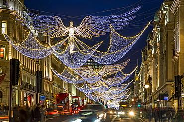 Regent Street Christmas lights 2016, London, England, United Kingdom, Europe