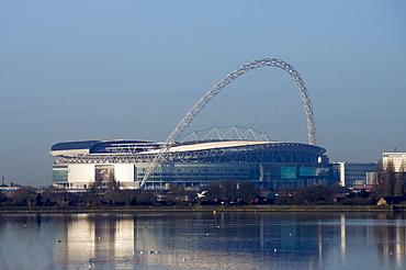 Wembley Stadium across Welsh Harp Lake, London, England, United Kingdom, Europe