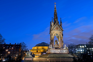 Albert Memorial and Albert Hall at dusk, Kensington, London, England, United Kingdom, Europe