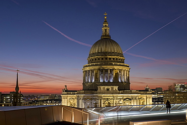 Dome of St. Pauls Cathedral from One New Change shopping mall, London, England, United Kingdom, Europe