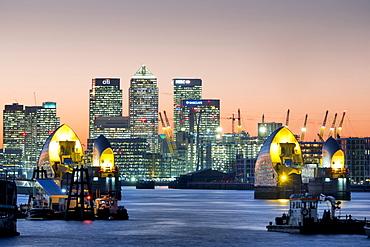 Canary Wharf with Thames Barrier, London, England, United Kingdom, Europe