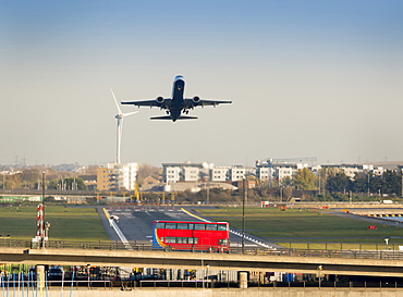 City Airport, Airbus A321 take off, London, England, United Kingdom, Europe
