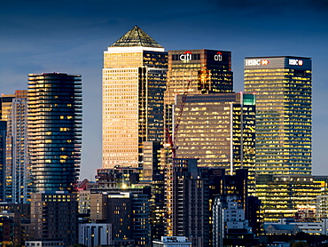 Canary Wharf, Docklands, view from Greenwich, London, England, United Kingdom, Europe