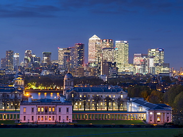Canary Wharf view from Greenwich, London, England, United Kingdom, Europe