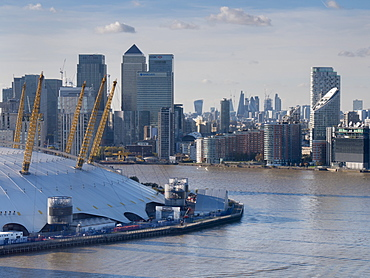 Canary Wharf and O2 from Emirates cable car, Docklands, London, England, United Kingdom, Europe